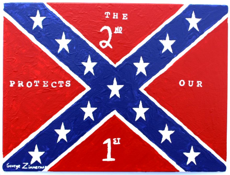 George Zimmerman's painting is for sale on the Inverness gun shop website.