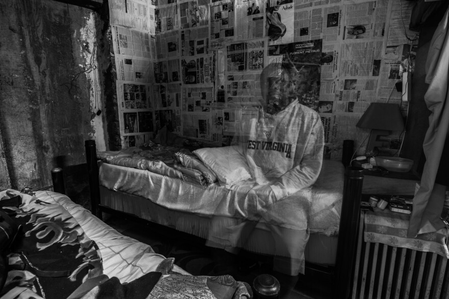 """An illegal immigrant from sub-Saharan Africa, living in Algeria in the sub-basement of a 21-story building. The photographer calls his series of immigrant photos """"Ca va waka"""" — a blend of French and English that means """"It's going to be okay."""""""