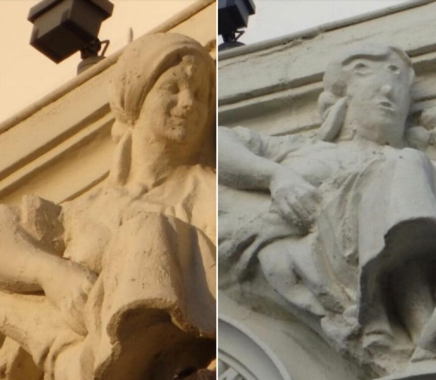"""Before — and after: the recent """"restoration"""" of a statue in the northern Spanish city of Palencia."""