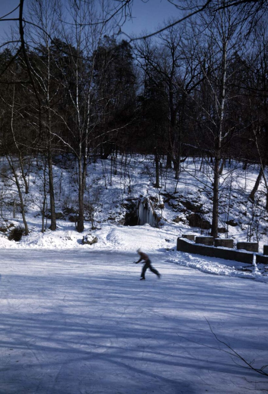 A skater on the reserve created by the dam in Yellow Springs creek.