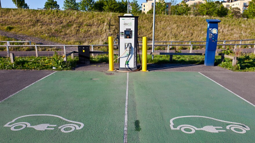 Charging station for electric cars in Glasgow, Scotland. With new models aimed at the mass market going on sale, Americans will be hearing a lot more about electric cars.