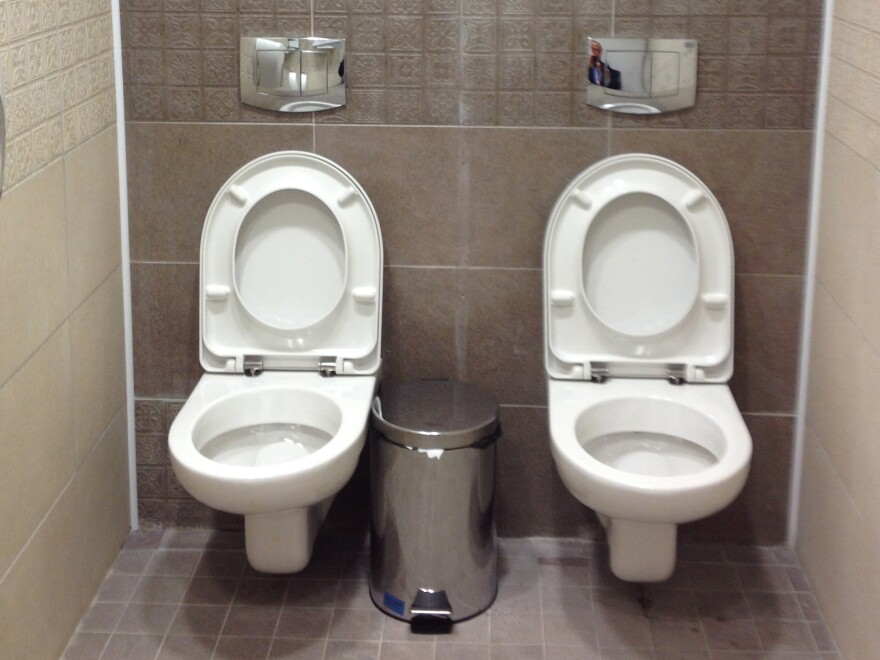 The loo for two in Sochi: BBC correspondent Steve Rosenberg snapped this picture in the men's room at the cross-country skiing and biathlon center.
