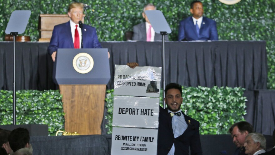 Virginia Del. Ibraheem Samirah, D-Fairfax, interrupted President Trump at a commemorative meeting of the Virginia General Assembly in Jamestown, Va.