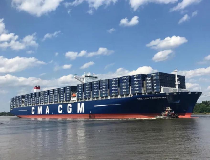 A cargo ship docked at Port Tampa Bay