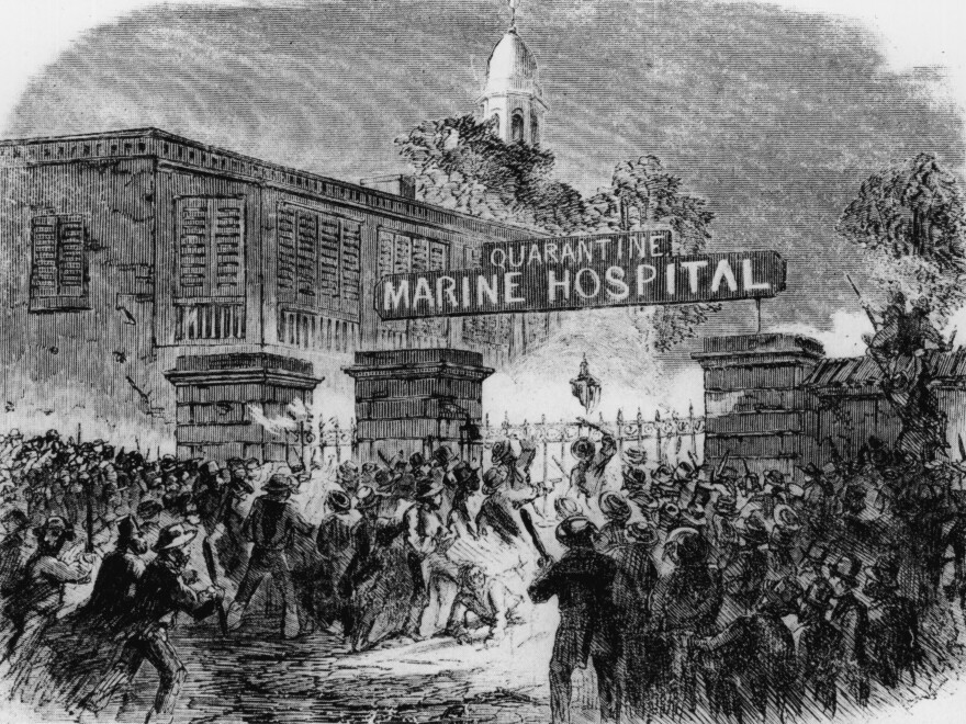 In this image originally published in Harper's Weekly in 1858, a mob attacks the Quarantine Marine Hospital in New York because people believed that its use was responsible for numerous yellow fever epidemics.