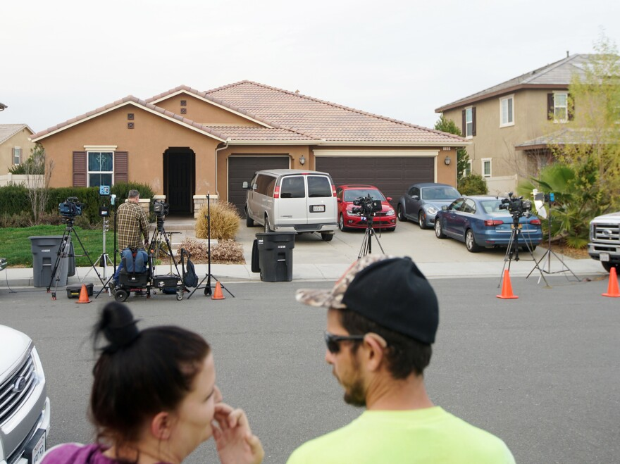 """The home in Perris, Calif., where authorities discovered siblings restrained and living in """"filthy"""" conditions."""