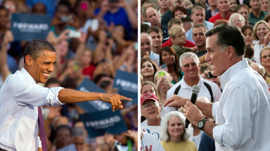 President Obama and Mitt Romney campaign in August: Obama in Leesburg, Va.; Romney in Waukesha, Wis.