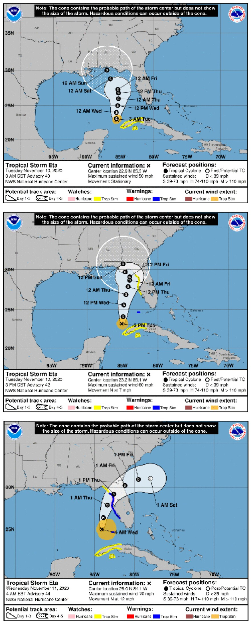 Tropical Storm Eta tracks on Tuesday and Wednesday