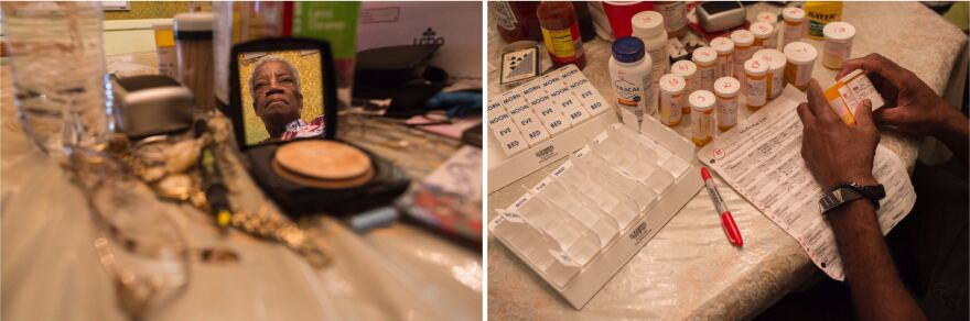 Left: After dinner, Juanita relaxes at the dining table, where she spends much of her day reading the Bible and where she keeps daily necessities within easy reach. Right: Juanita takes 17 types of medication every day. Charleston carefully sorts her doses in a weekly pill organizer.