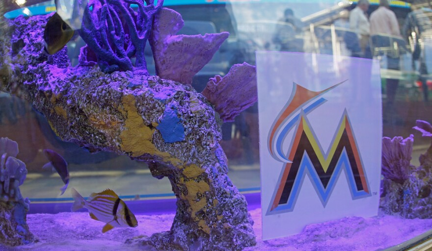 A general view of the new Marlins Ballpark shot through a fishtank behind home plate.