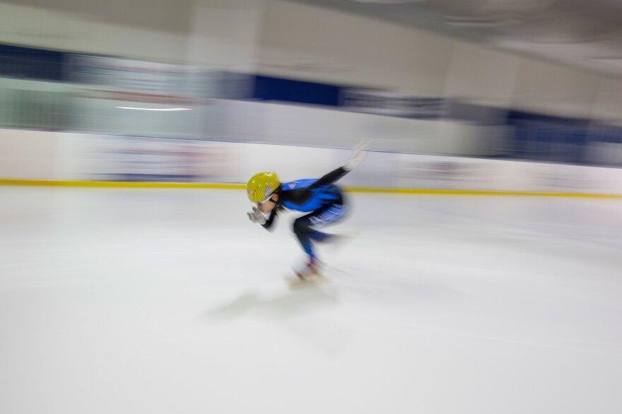 Kyubin Oh, 14, practices speedskating.