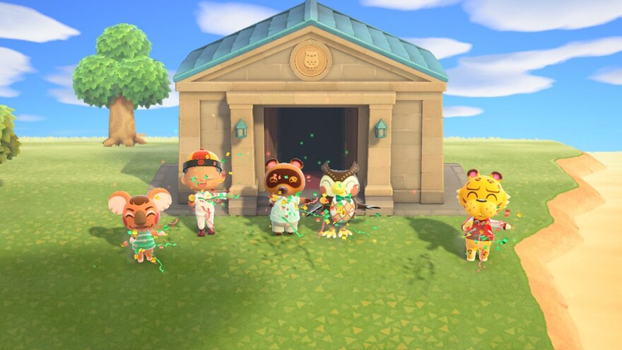 """A screenshot from the online game """"Animal Crossing."""" The game has become wildly popular while people are stuck at home during the pandemic."""