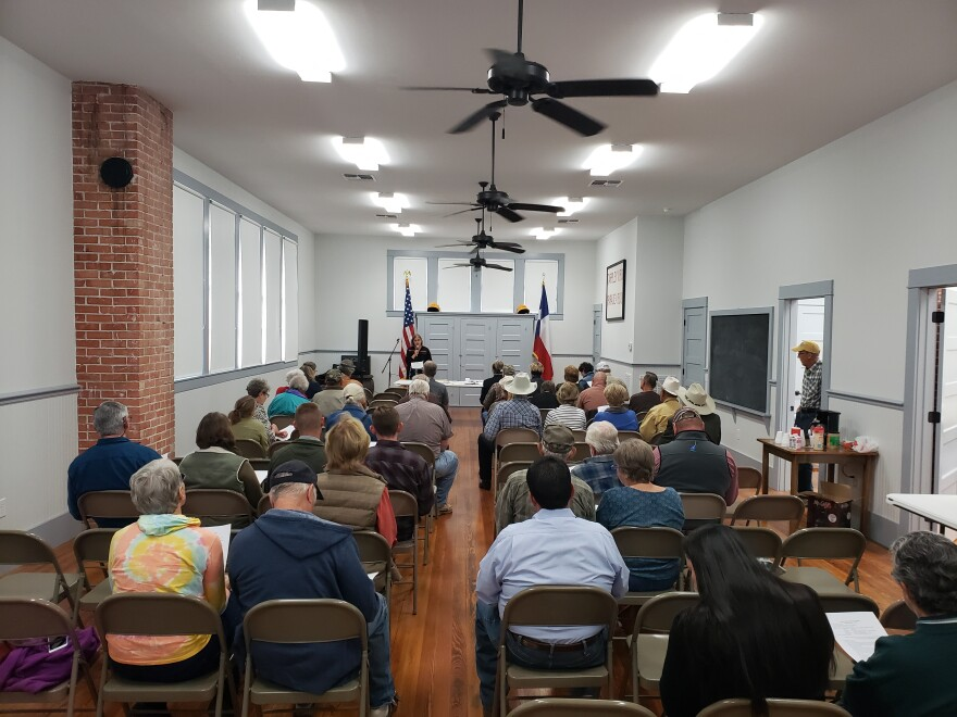 Dozens of residents attended a meeting at the old Tarpley school house regarding a nearby Christian summer camp receiving state water permits.