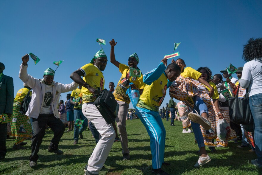 People at a ZANU-PF rally at the White City Stadium in Bulawayo, Zimbabwe where President Mnangagwa was to give an address on June 23, 2018.