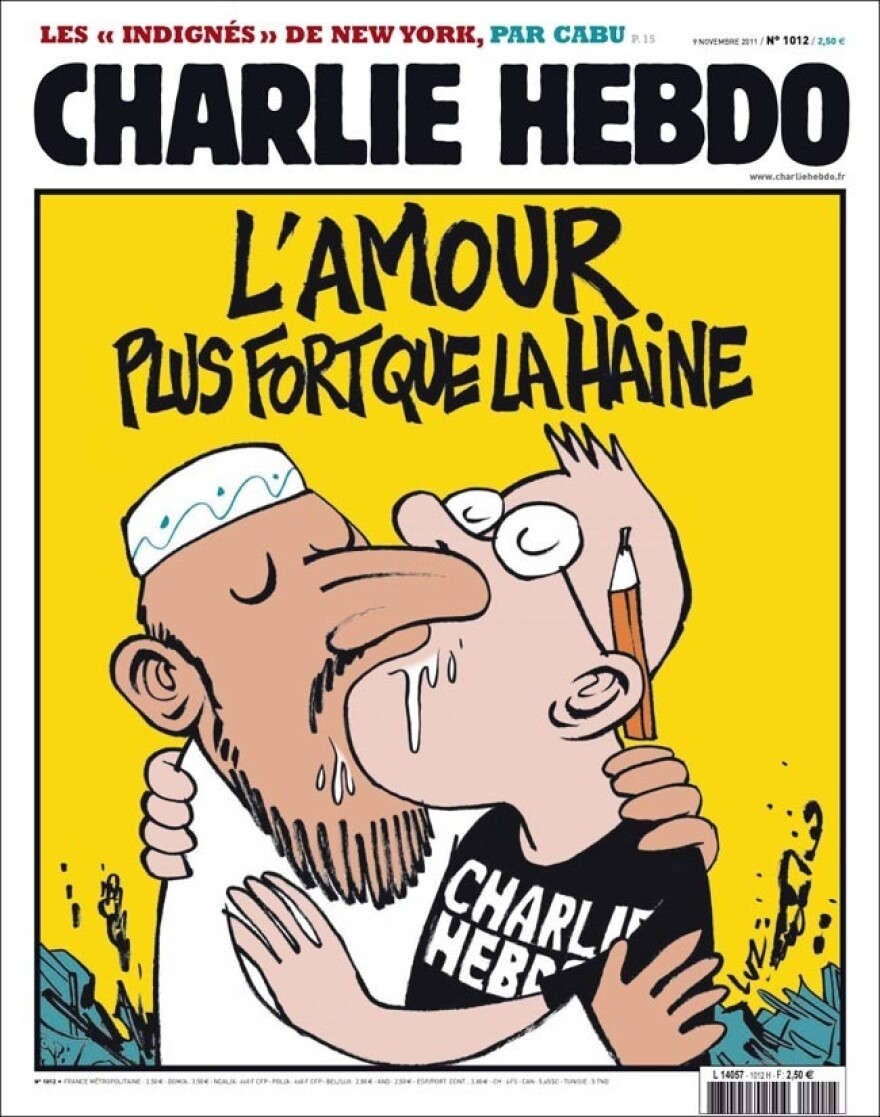 This cover ran in 2011, in response to the firebombing of the <em>Charlie Hebdo</em> offices.