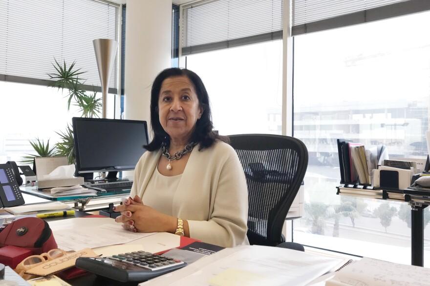 Lubna Olayan in her office at Olayan Financing Company in Riyadh, Saudi Arabia, in April.