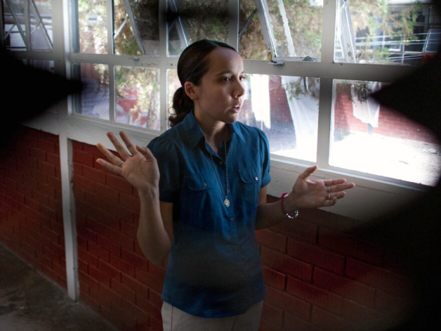 Martinez speaks in a jail in Juarez where she spent more than a month. Miss Ana, as her students call her, gave English lessons to other inmates to pass the time.