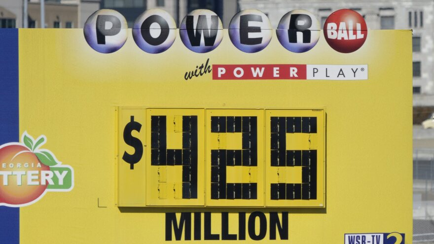 It's a record: A sign in Atlanta about the $425 million jackpot in the Powerball lottery.