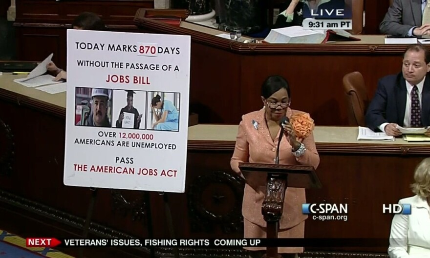 Rep. Frederica Wilson (D-Fla.) always has a floor chart with her on the House floor to help her tally the number of days without passage of a jobs bill.
