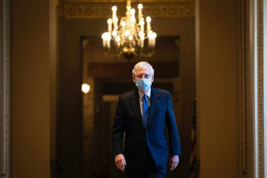 Senate Majority Leader Mitch McConnell (R-KY) leaves his office and walks to the Senate floor at the U.S. Capitol in Washington, DC.