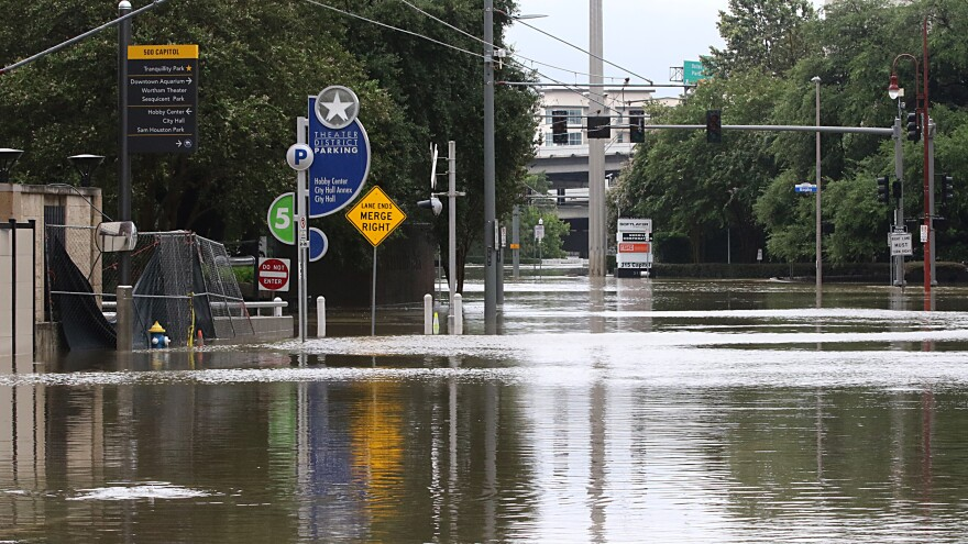 Downtown Houston's theater district, the second-largest in the nation, was flooded with water from Buffalo Bayou.