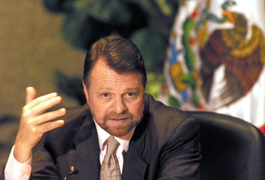 Mexican Foreign Minister, Jorge Castañeda, responds to journalists in Mexico City, October 08, 2001.