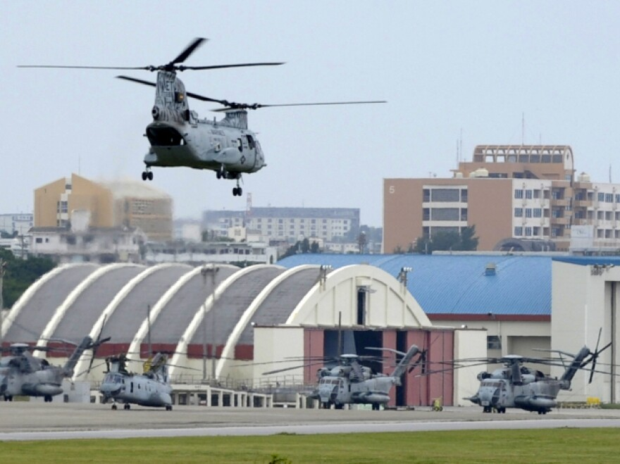 A U.S. Marine Corps helicopter takes off from Air Station Futenma in Ginowan, Okinawa prefecture.