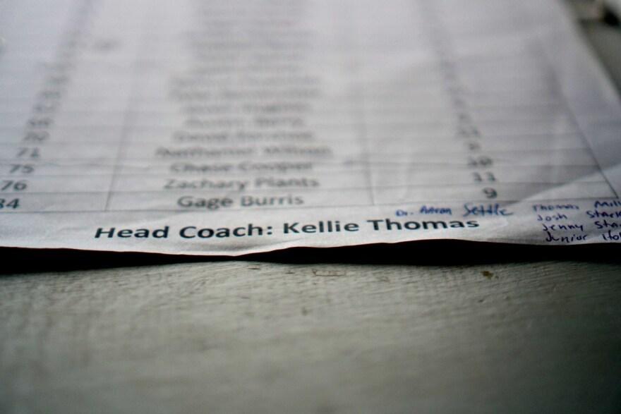 A roster sheet in the Hannan High School press box.