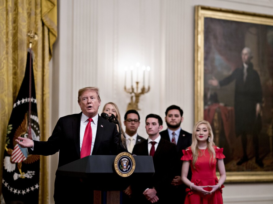 President Donald Trump speaks during an executive order signing on Thursday. Trump signed an executive order requiring colleges to certify that they accept free and open inquiry in order to get federal grants.