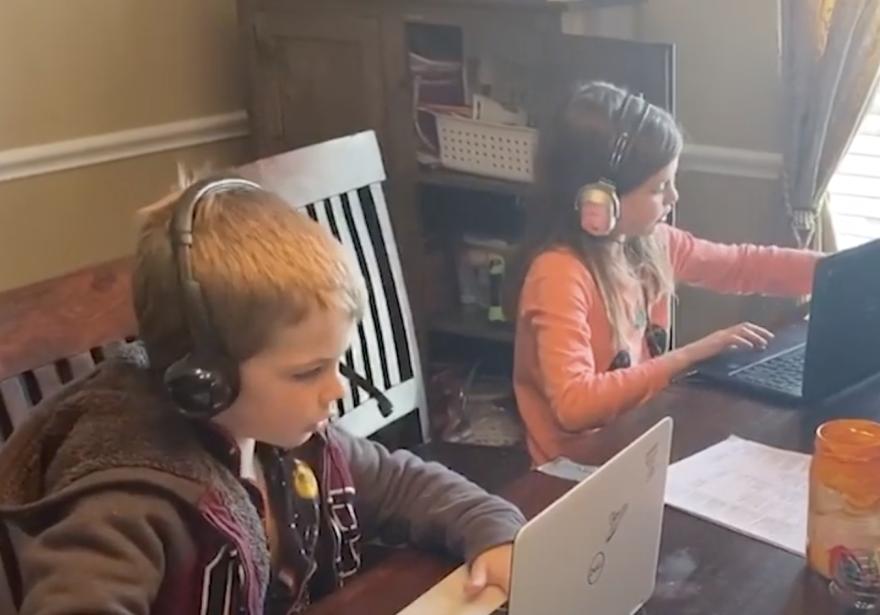 children studying online