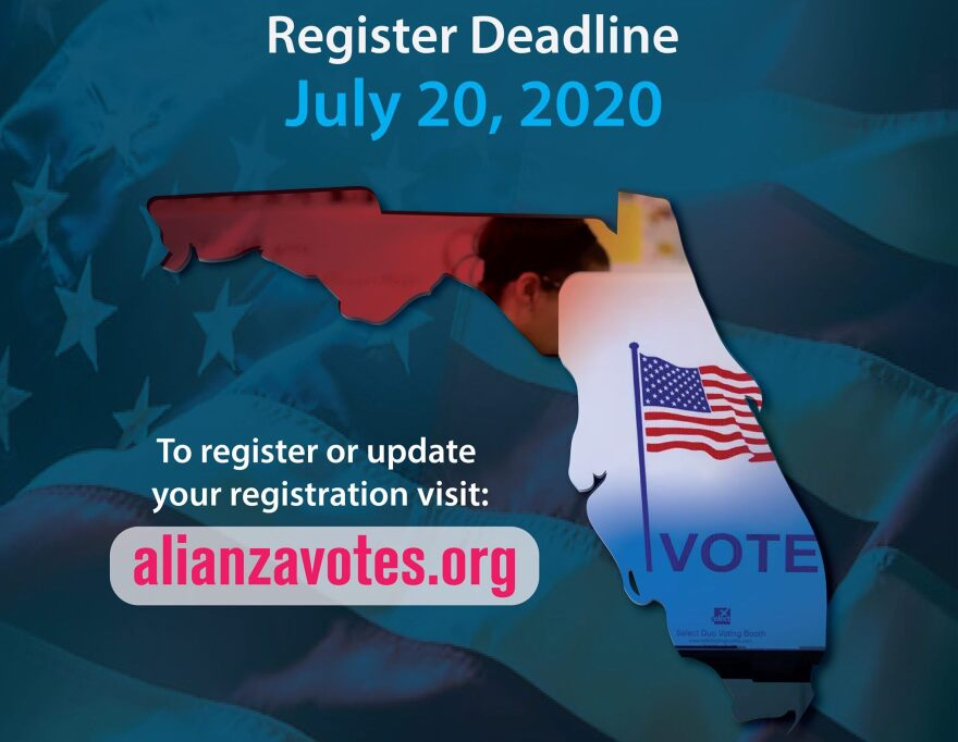 Outline of Florida overlayed with a voting booth sign and information about registration deadlines.