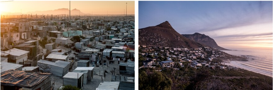The unequal faces of South Africa: left, shanty dwellings in the township of Khayelitsha; right, homes overlooking Llandudno beach in Cape Town.
