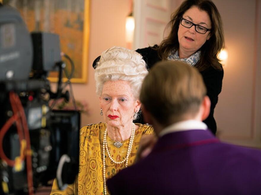 Oscar-nominated hair and makeup designer Frances Hannon styles actress Tilda Swinton on the set of <em>The Grand Budapest Hotel.</em>