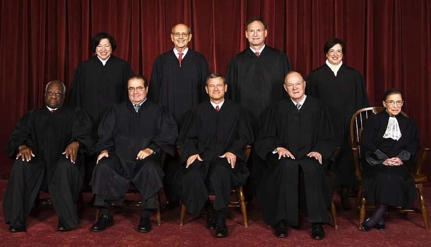 Back row from left Sonia Sotomayor, Stephen G. Breyer, Samuel A. Alito, and Elena Kagan. Front row from left Clarence Thomas, Antonin Scalia, Chief Justice John Roberts, Anthony Kennedy, and Ruth Bader Ginsburg