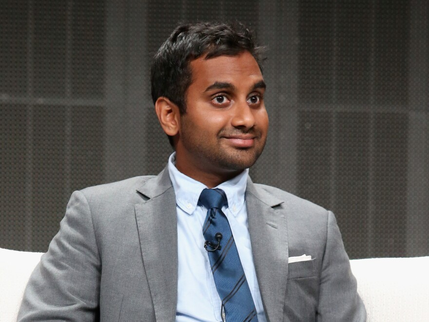 "Comedian Aziz Ansari says while online dating has its problems, ""1 out of 3 people that get married now, they meet their spouse through online dating. So you could look at it like, oh, well, there's an insane amount of love that would not even be there had it not been for these things."""