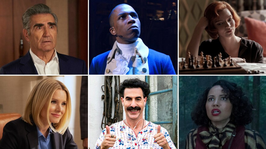 (Clockwise from upper left) Eugene Levy in Schitt's Creek, Leslie Odom Jr. in Hamilton, Anya Taylor-Joy in The Queen's Gambit, Jurnee Smollett in Lovecraft Country, Sacha Baron Cohen in Borat Subsequent Moviefilm, and Kristen Bell in The Good Place.