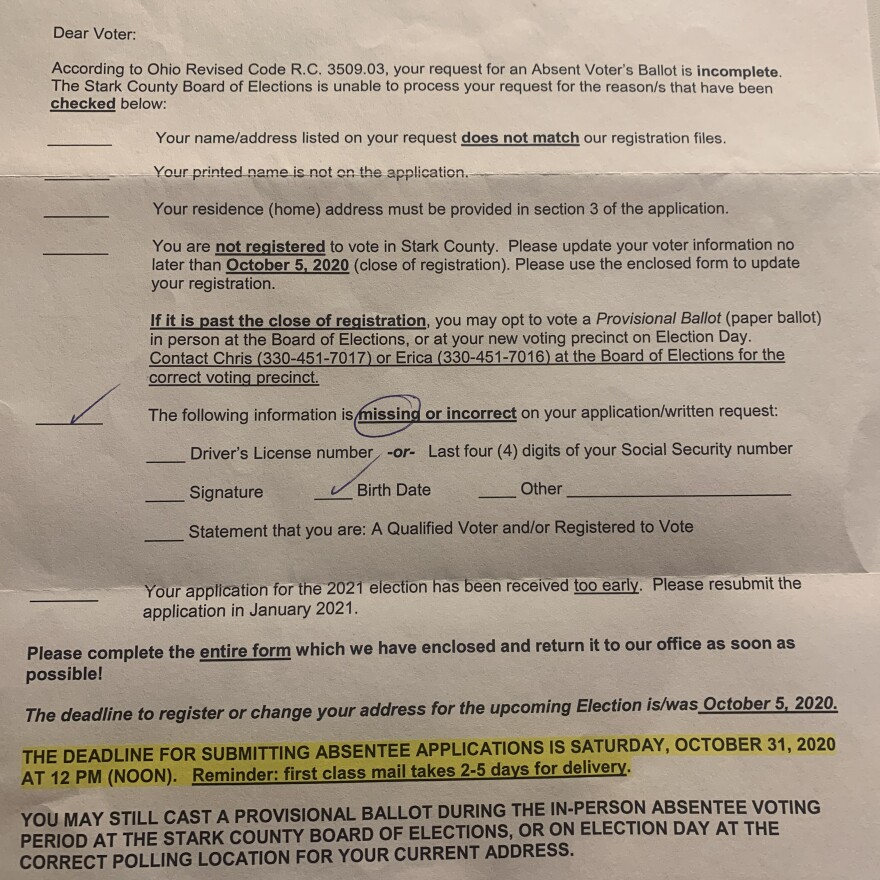 Don Woodward's notification of an error on his absentee ballot application