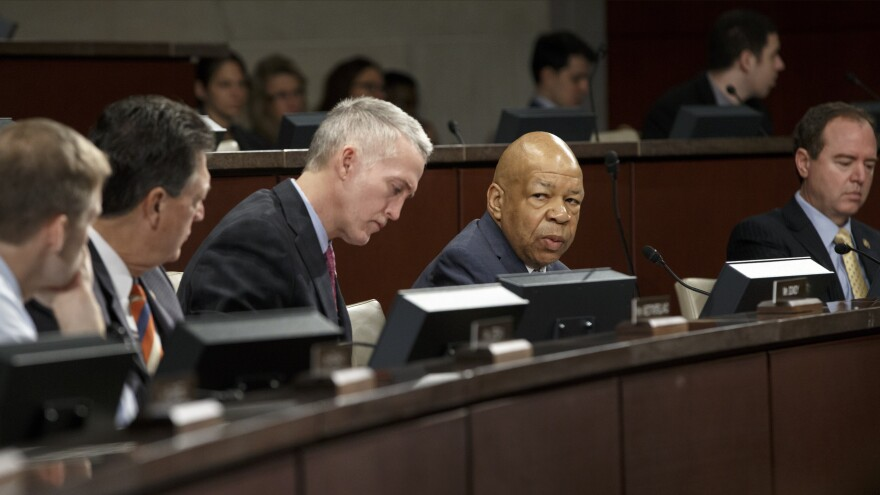 """Rep. Elijah Cummings (second from right), the ranking member of the House Select Committee on Benghazi, said it's """"certainly understandable"""" that Bryan Pagliano would be advised not to appear before the committee."""