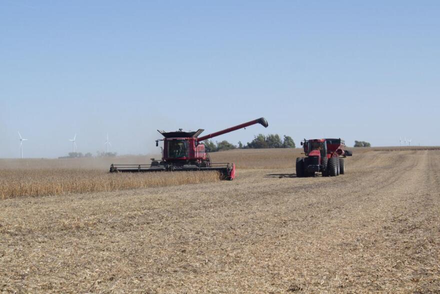 Key Cooperative board member Branon Osmundson combines soybeans near Randall, Iowa.