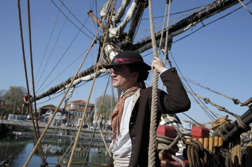 Adam Hodges-LeClaire is outfitted as an 18th century sailor, down to his woolen socks and leather buckle shoes.