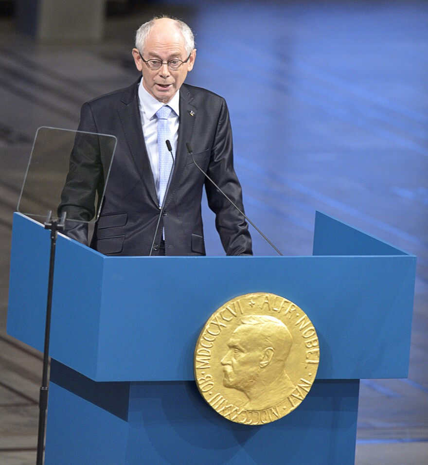 European Union President Herman Van Rompuy of Belgium at the Nobel Peace Prize ceremony in Oslo.