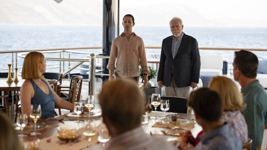 Jeremy Strong as Kendall Roy and Brian Cox as Logan Roy in the season finale of <em></em>HBO's <em>Succession</em>.