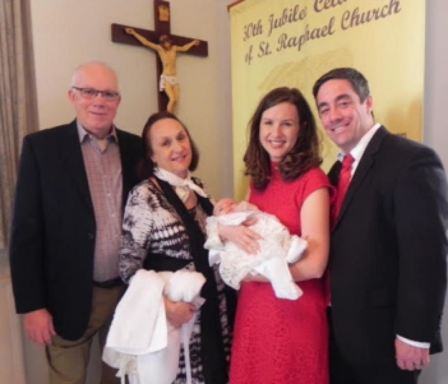 Mary Jo and Matt Trokey had their daughter, Taylor Rose baptized in December 2017.