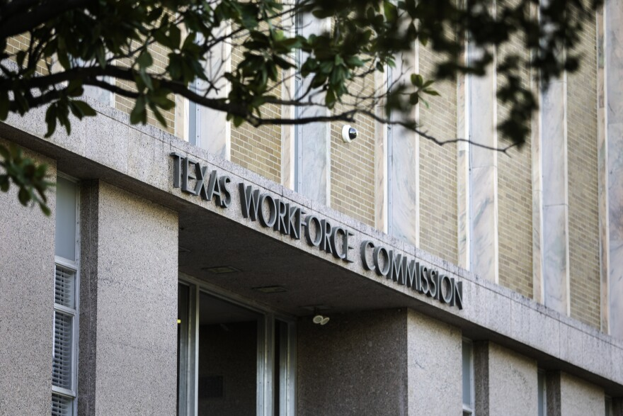The facade of the Texas Workforce Commission in Austin.