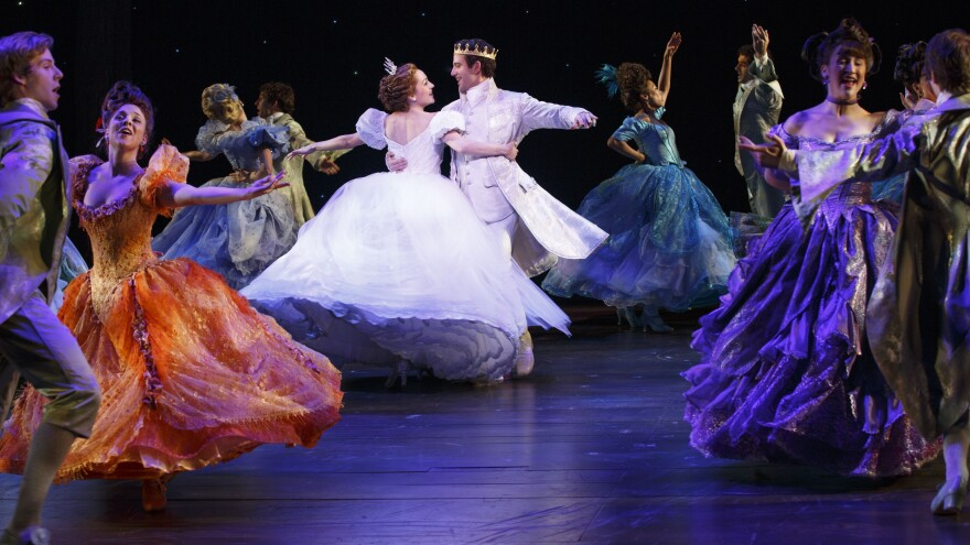 Laura Osnes, Santino Fontana and the ensemble of <em>Cinderella — </em>one of the Broadway season's more lavish musicals, whose costume designer, William Ivey Long, is nominated for his sixth Tony Award.
