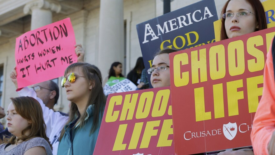An anti-abortion-rights rally took place at the Arkansas state Capitol in January.