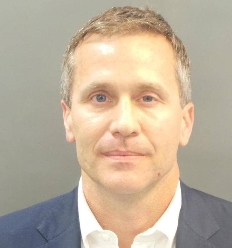 Missouri Gov. Eric Greitens, as shown in his booking photograph after being charged with felony invasion-of-privacy.