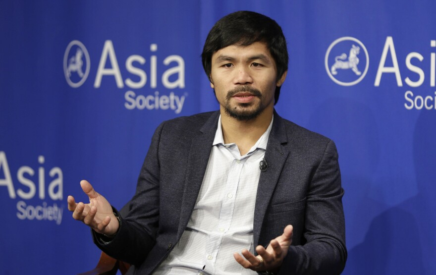 Manny Pacquiao, pictured at the Asia Society in New York in October 2015, has created a firestorm with his comments about homosexuals.
