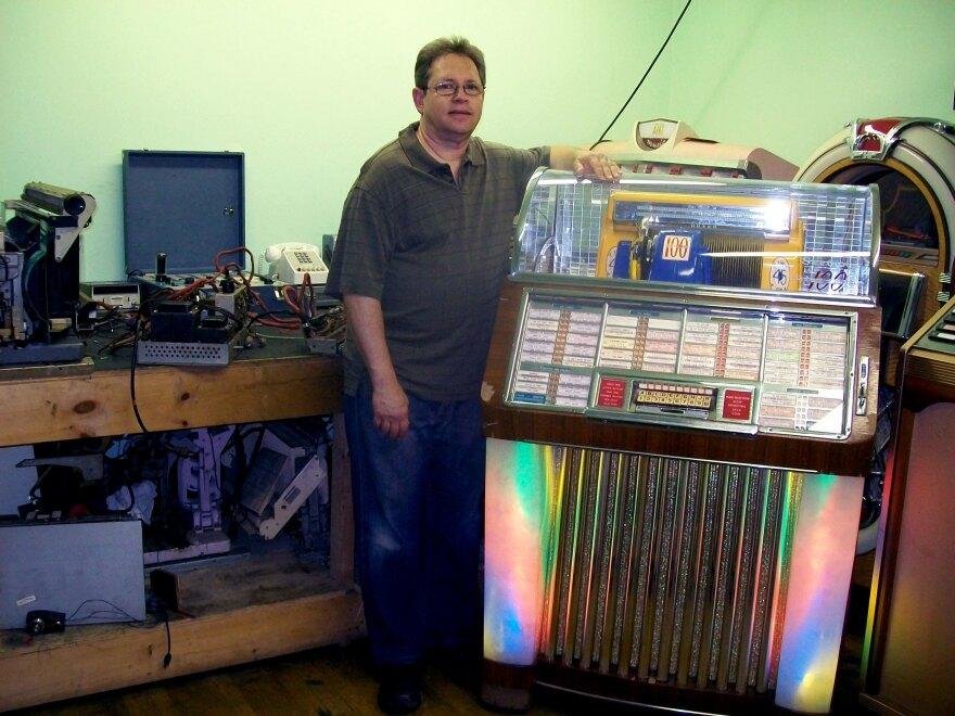 Jukebox technician Perry Rosen in his workshop.