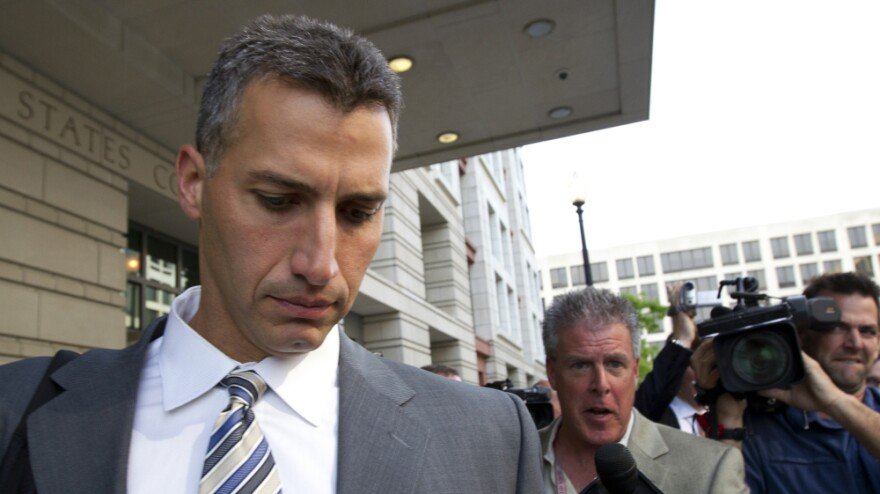 Andy Pettitte leaves the federal court in Washington, D.C., Tuesday. Pettitte took the stand in the retrial of Roger Clemens on charges that Clemens lied when he told Congress in 2008 that he had never used steroids or human growth hormone.